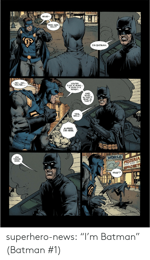 "Yesie: WHAT  WHO ARE  YOU?  I'M BATMAN.  NO...NO.  YOU'RE.  YOU'RE  JUST A MAN...  A MANINA  MASK.  AND  WHAT  S THAT  WHAT I  THAT  YESI  WELL  ALFRED  I'M HERE.  LD  OH  THANK  GOD  ZE  BEER WINES LIOU  PAGHE  WHAT? superhero-news:  ""I'm Batman"" (Batman #1)"