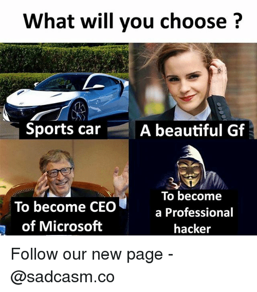 Beautiful, Memes, and Microsoft: What will you choose?  Sports car  A beautiful Gf  To become CECO  of Microsoft  To become  a Professional  hacker Follow our new page - @sadcasm.co