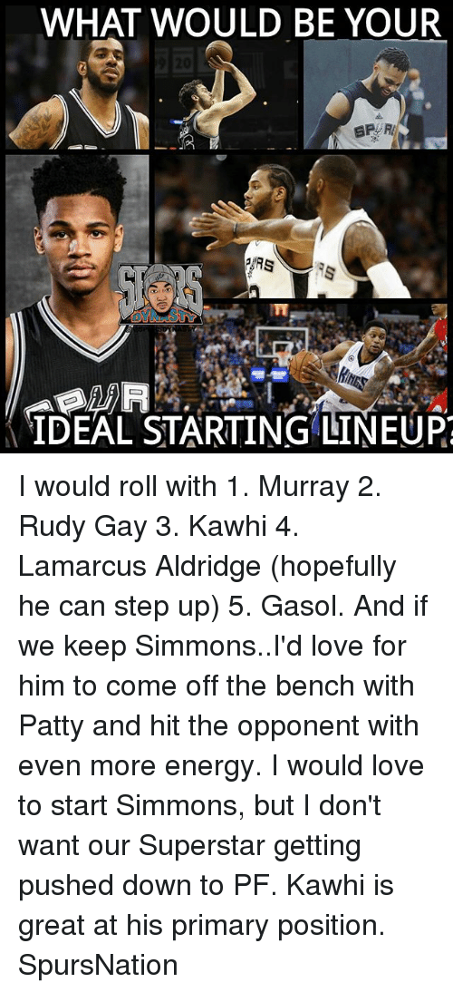Come Off The Bench: WHAT WOULD BE YOUR  IDEAL STARTING LINEUP? I would roll with 1. Murray 2. Rudy Gay 3. Kawhi 4. Lamarcus Aldridge (hopefully he can step up) 5. Gasol. And if we keep Simmons..I'd love for him to come off the bench with Patty and hit the opponent with even more energy. I would love to start Simmons, but I don't want our Superstar getting pushed down to PF. Kawhi is great at his primary position. SpursNation