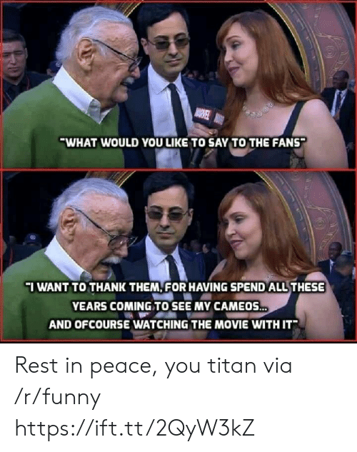 Funny, Movie, and Peace: WHAT WOULD YOU LIKE TO SAY TO THE FANS  IWANT TO THANK THEM FOR HAVING SPEND ALL THESE  YEARS COMING TO SEE MY CAMEOS  AND OFCOURSE WATCHING THE MOVIE WITH IT Rest in peace, you titan via /r/funny https://ift.tt/2QyW3kZ