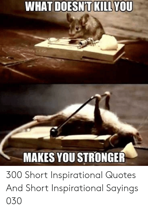 inspirational quotes: WHAT  YOU  DOESNT KILL  MAKES YOU STRONGER 300 Short Inspirational Quotes And Short Inspirational Sayings 030