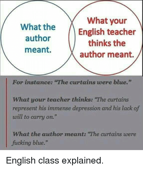 What Your What The English Teacher Author Thinks The Meant Author