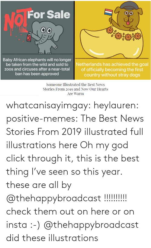 Thing I: whatcanisayimgay:  heylauren: positive-memes:    The Best News Stories From 2019 illustrated full illustrations here  Oh my god click through it, this is the best thing I've seen so this year.  these are all by @thehappybroadcast !!!!!!!!!! check them out on here or on insta :-)    @thehappybroadcast did these illustrations