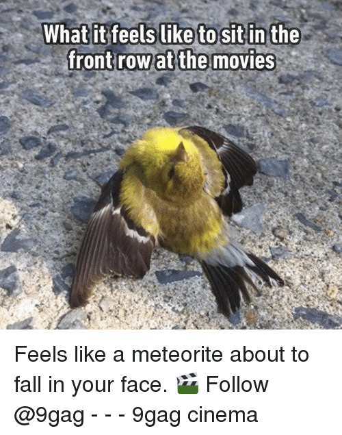 9gag, Fall, and Memes: Whatit feels like to sit in the  frontrow at the movies Feels like a meteorite about to fall in your face. 🎬 Follow @9gag - - - 9gag cinema