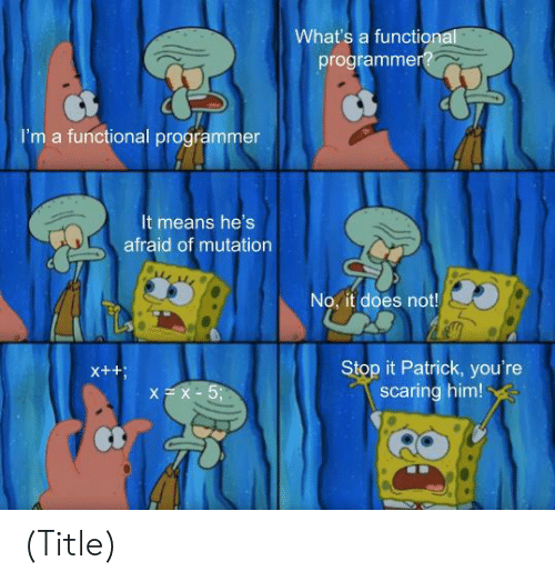 stop it: What's a functional  programmer?  I'm a functional programmer  It means he's  afraid of mutation  No, it does not!  Stop it Patrick, you're  scaring him!  X++  XX-5; (Title)
