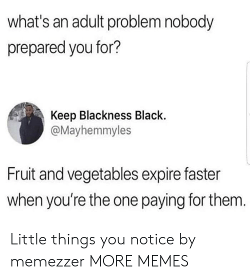 vegetables: what's an adult problem nobody  prepared you for?  Keep Blackness Black  @Mayhemmyles  Fruit and vegetables expire faster  when you're the one paying for them. Little things you notice by memezzer MORE MEMES