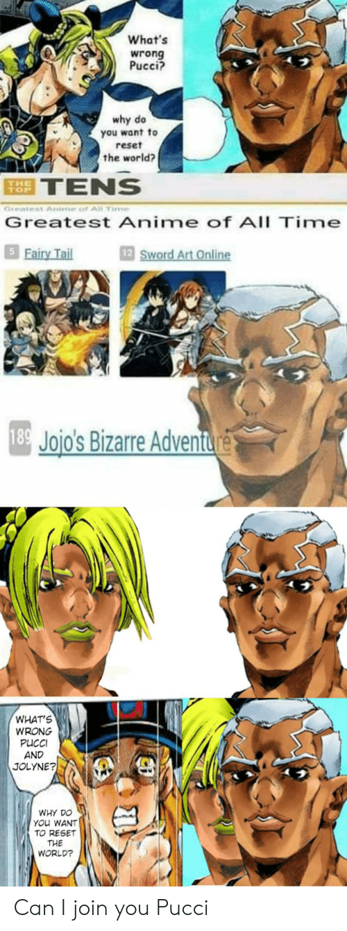Anime, JoJo's Bizarre Adventure, and Time: What's  wrong  Pucci?  why do  you want to  reset  the world?  TENS  Great  Greatest Anime of All Time  5 Fairy Tail  12 Sword Art Online  189 Jojo's Bizarre Adventure  WHAT'S  WRONG  PUCCI  AND  JOLYNE?  WHY DO  YOu WANT  TO RESET  THE  WORLD? Can I join you Pucci