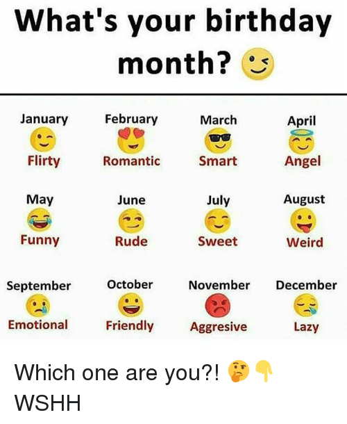Birthday, Funny, and Lazy: What's your birthday  month?  April  Angel  August  January  February  March  Flirty  Romantic  Smart  May  June  July  Funny  Rude  Sweet  Weird  October  November December  September  Emotional  Friendly  Aggresive  Lazy Which one are you?! 🤔👇 WSHH