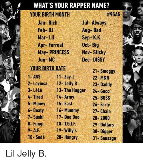 9gag, Ass, and Bad: WHAT'S YOUR RAPPER NAME?  YOUR BIRTH MONTH  #9GAG  Jan- Rich  Feb-DJ  Mar- Lil  Apr- Forreal  May- PRINCESS  Jun- MC  Jul- Always  Aug- Bad  Sep- K.K.  Oct-Big  Nov- Sticky  Dec- DIS$Y  YOUR BIRTH DATE  I ASS  2- Leviosa12- JellyB  3-Lélé  4- Tired 14- Army  5- Money15-East  6-Boaty  7- Sushi  8-Fungi18-TG.LF.  21-Smoggy  22- M&N  23-Daddy  24- Guccí  25- BOSS  26-Farty  11- Zay-J  13- The Hugger  16- Mummy27- Chain  17-Doo Doo28-2000  19- Willy's3  20- Hangry  29-Dollars  30- Digger  31-Sausage  10- Sodá Lil Jelly B.