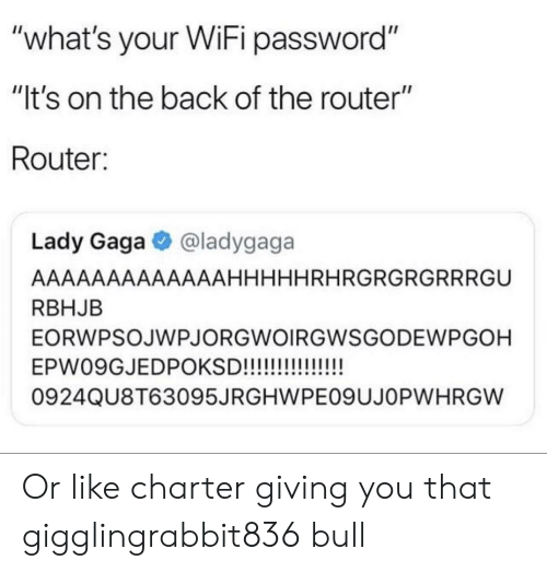 """Lady Gaga, Reddit, and Router: """"what's your WiFi password""""  """"It's on the back of the router""""  Router:  Lady Gaga@ladygaga  AAAAAAAAAAAAAHHHHHRHRGRGRGRRRGU  RBHJB  EORWPSOJWPJORGWOIRGWSGODEWPGOH  0924QU8T63095JRGHWPEO9UJOPWHRGW Or like charter giving you that gigglingrabbit836 bull"""