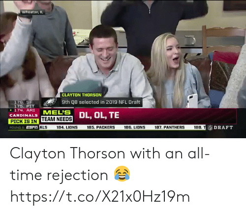 esmemes.com: Wheaton, IL  CLAYTON THORSON  9th QB selected in 2019 NFL Draft  176, SF  175. PIT  174.ARI  CARDINALS  -  MEL'B DL  TEAM NEEDS  ALS  PICK ISIN  ROUND 6 ESFT  ESP  188. TDRAFT  188  184  . LIDNS  185. PACKERS  186. LIONS  187. PANTHERS Clayton Thorson with an all-time rejection 😂 https://t.co/X21x0Hz19m