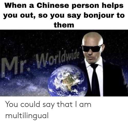 mr worldwide: When a Chinese person helps  you out, so you say bonjour to  them  Mr. Worldwide You could say that I am multilingual
