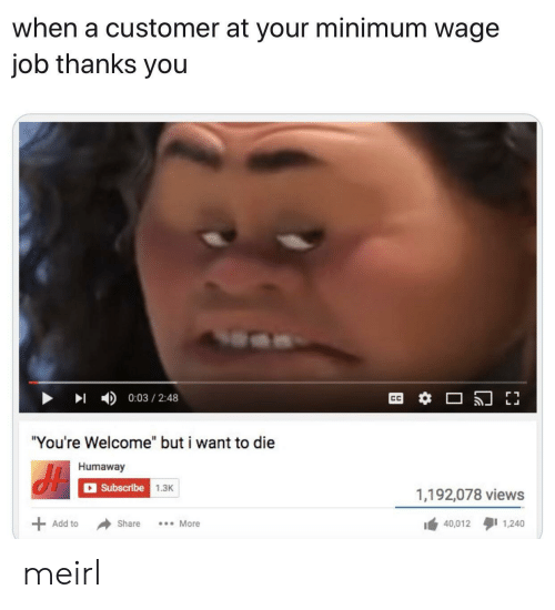 "Minimum Wage: when a customer at your minimum wage  job thanks you  0:03 2:48  ""You're Welcome"" but i want to die  Humaway  Subscribe 1.3K  1,192,078 views  40,012 1,240  Add to  Share  More meirl"