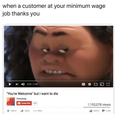 "Minimum Wage: when a customer at your minimum wage  job thanks you  0:03/2:48  CC  ""You're Welcome"" but i want to die  Humaway  Subscribe  1.3K  1,192,078 views  .More  Add to  Share  40,012  1,240"