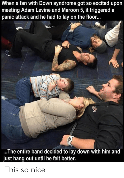 Adam Levine, Down Syndrome, and Maroon 5: When a fan with Down syndrome got so excited upo  meeting Adam Levine and Maroon 5, it triggered a  panic attack and he had to lay on the floor...  .The entire band decided to lay down with him and  just hang out until he felt better. This so nice