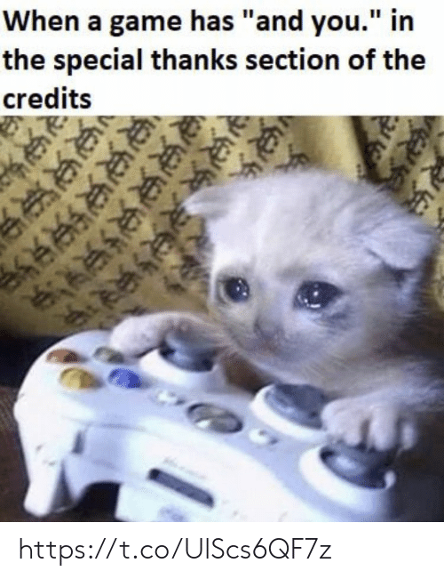 """Memes, Game, and A Game: When a game has """"and you."""" in  the special thanks section of the  credits https://t.co/UlScs6QF7z"""