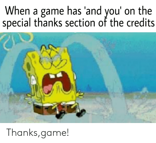Thanks Game: When a game has 'and you' on the  special thanks section of the credits Thanks,game!