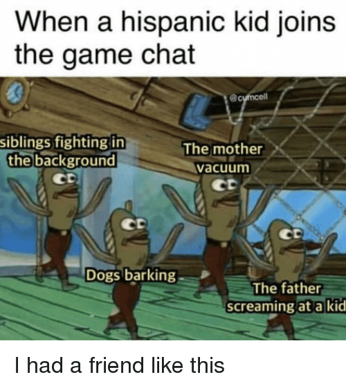 Dogs, The Game, and Chat: When a hispanic kid joins  the game chat  siblings fighting in  the background  The mother  vacuum  ct  Dogs barking  The father  screaming at a kid I had a friend like this