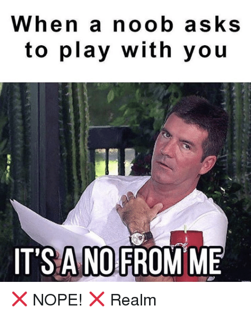 Memes, Nope, and Asks: When a noob asks  to play with you  IT'S ANO  FROM ME ❌ NOPE! ❌ Realm