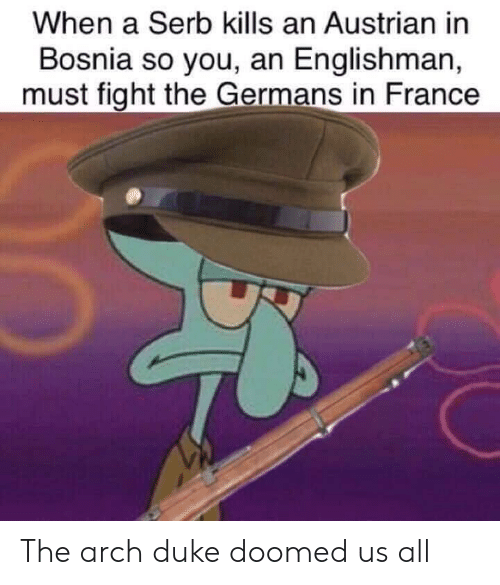 arch: When a Serb kills an Austrian in  Bosnia so you, an Englishman,  must fight the Germans in France The arch duke doomed us all