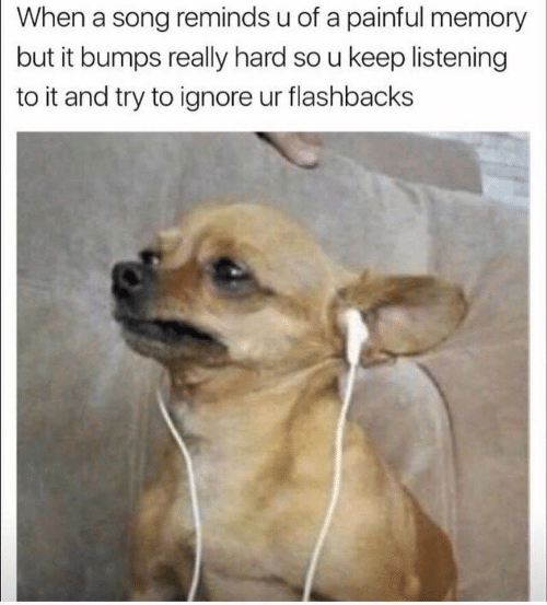 A Song, Song, and Memory: When a song reminds u of a painful memory  but it bumps really hard so u keep listening  to it and try to ignore ur flashbacks