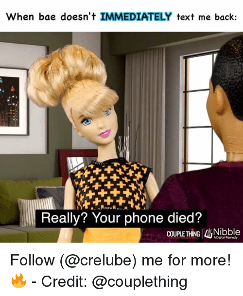 Bae, Memes, and Phone: When bae doesn't IMMEDIATELY text me back:  Really? Your phone died?  COUPLE THING Nibble  A Digital Remedy Follow (@crelube) me for more! 🔥 - Credit: @couplething