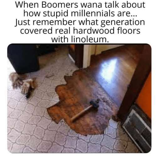 Dank, Millennials, and 🤖: When Boomers wana talk about  how stupid millennials are...  Just remember what generation  covered real hardwood floors  with linoleum.
