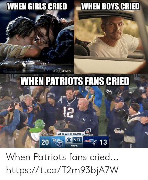 dia: WHEN BOYS CRIED  WHEN GIRLS CRIED  @NFL_MEMES  WHEN PATRIOTS FANS CRIED  12  AFC WILD CARD  PLAYOFFS  NE DIA  13  NFL  13  T)  FINAL  20 When Patriots fans cried... https://t.co/T2m93bjA7W