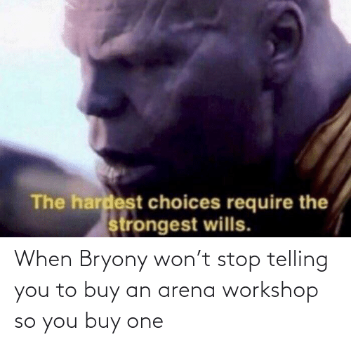 Telling: When Bryony won't stop telling you to buy an arena workshop so you buy one