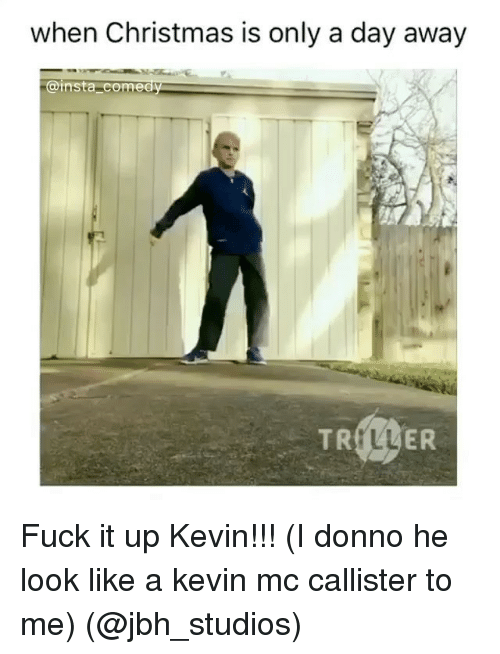 Insta Comedy: when Christmas is only a day away  insta comedy  TR  ER Fuck it up Kevin!!! (I donno he look like a kevin mc callister to me) (@jbh_studios)
