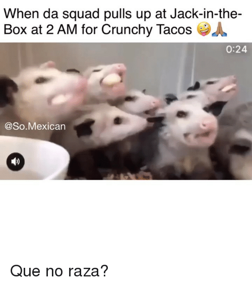 Jack in the Box, Memes, and Squad: When da squad pulls up at Jack-in-the-  Box at 2 AM for Crunchy Tacos  0:24  @So.Mexican Que no raza?