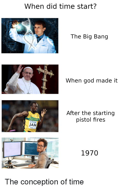 big bang: When did time start?  The Big Bang  When god made it  After the starting  pistol fires  必TDK  JAM  1970 The conception of time