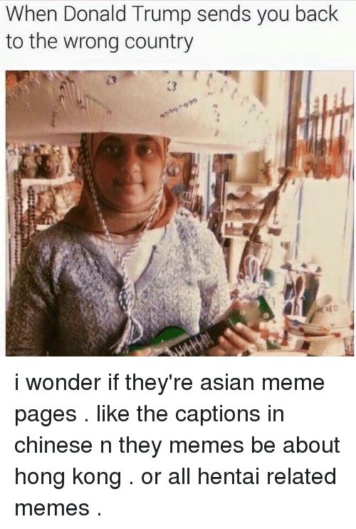 asian meme: When Donald Trump sends you back  to the wrong country i wonder if they're asian meme pages . like the captions in chinese n they memes be about hong kong . or all hentai related memes .