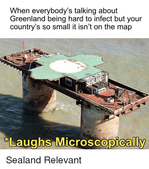greenland: When everybody's talking about  Greenland being hard to infect but your  country's so small it isn't on the map  Laughs MicroscoDicallv  oscopically Sealand Relevant