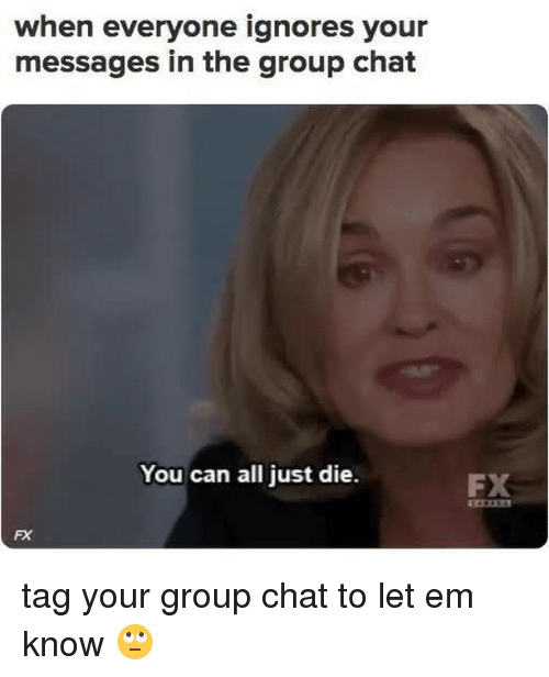 Group Chat, Memes, and Chat: when everyone ignores your  messages in the group chat  You can all just die.  FX  FX tag your group chat to let em know 🙄