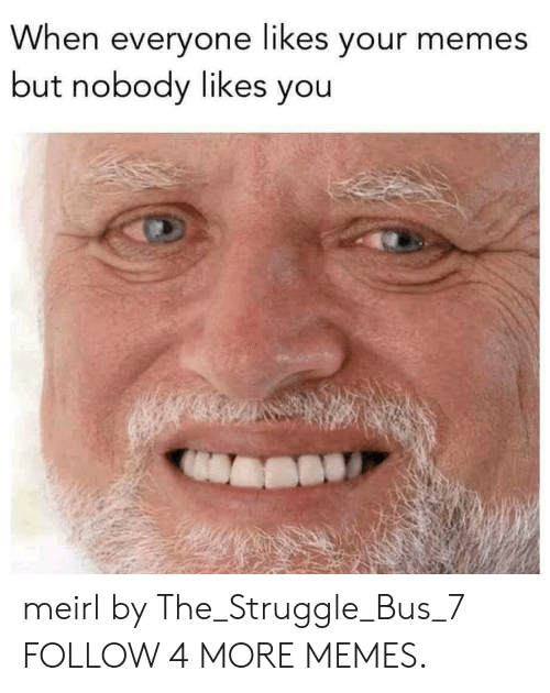Your Memes: When everyone likes your memes  but nobody likes you meirl by The_Struggle_Bus_7 FOLLOW 4 MORE MEMES.
