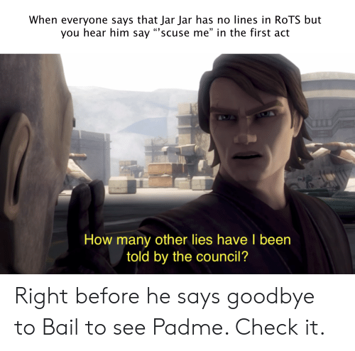 """Been, How, and Act: When everyone says that Jar Jar has no lines in ROTS but  you hear him say """"'scuse me"""" in the first act  How many other lies have I been  told by the council? Right before he says goodbye to Bail to see Padme. Check it."""