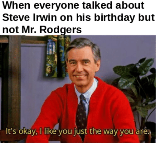 Birthday, Steve Irwin, and Okay: When everyone talked about  Steve Irwin on his birthday but  not Mr. Rodgers  It's okay,I like you just the way you are