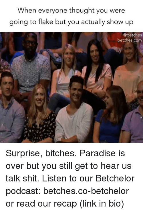 Paradise, Shit, and Link: When everyone thought you were  going to flake but you actually show up  @betches  betches.com Surprise, bitches. Paradise is over but you still get to hear us talk shit. Listen to our Betchelor podcast: betches.co-betchelor or read our recap (link in bio)