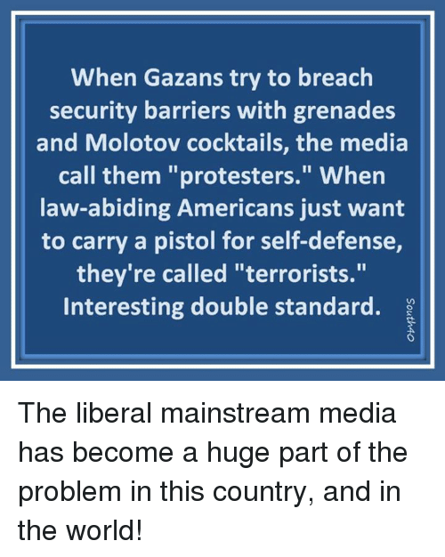 "Memes, World, and 🤖: When Gazans try to breach  security barriers with grenades  and Molotov cocktails, the media  call them ""protesters."" Whern  law-abiding Americans just want  to carry a pistol for self-defense,  they're called ""terrorists.""  Interesting double standard. ? The liberal mainstream media has become a huge part of the problem in this country, and in the world!"