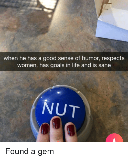 Goals, Life, and Good: when he has a good sense of humor, respects  women, has goals in life and is sane  NUT Found a gem