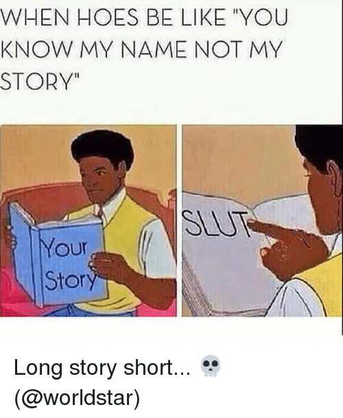 """Hoes Be Like: WHEN HOES BE LIKE """"YOU  KNOW MY NAME NOT MY  STORY""""  Your  Stor Long story short... 💀 (@worldstar)"""
