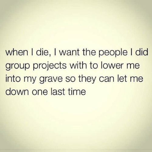 projects: when I die, I want the people I did  group projects with to lower me  into my grave so they can let me  down one last time
