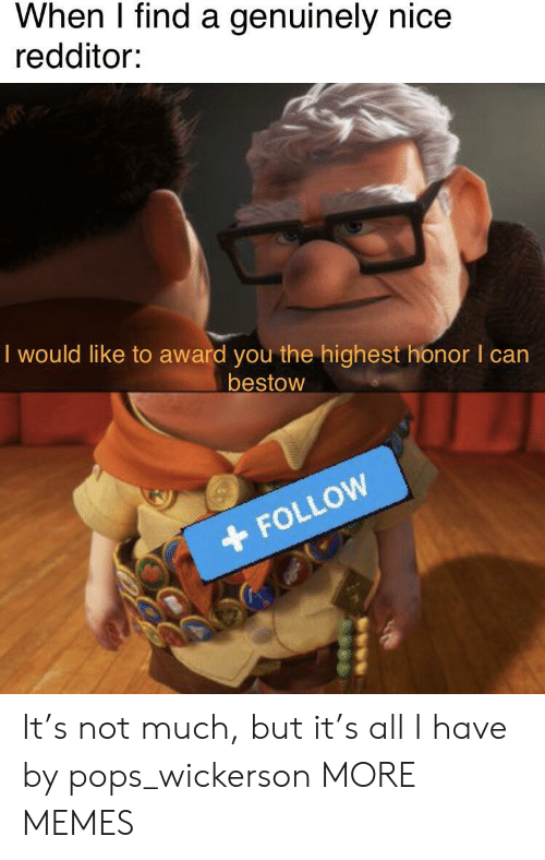 all i have: When I find a genuinely nice  redditor:  I would like to award you the highest honor I can  bestow  FOLLOW It's not much, but it's all I have by pops_wickerson MORE MEMES