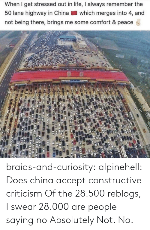 Which: When I get stressed out in life, I always remember the  50 lane highway in China  which merges into 4, and  not being there, brings me some comfort & peace braids-and-curiosity: alpinehell: Does china accept constructive criticism  Of the 28.500 reblogs, I swear 28.000 are people saying no    Absolutely Not. No.