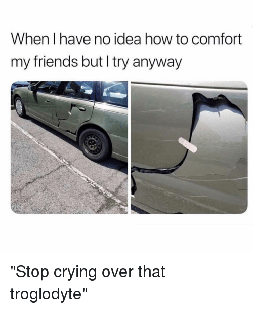 "Crying, Friends, and How To: When I have no idea how to comfort  my friends but I try anyway ""Stop crying over that troglodyte"""