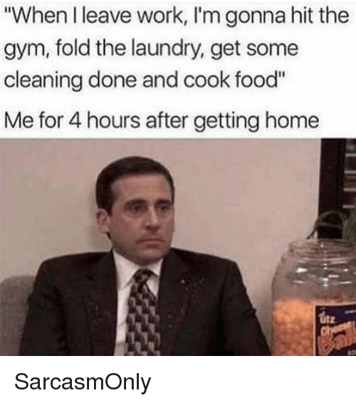 "Food, Funny, and Gym: ""When I leave work, I'm gonna hit the  gym, fold the laundry, get some  cleaning done and cook food""  Me for 4 hours after getting home  utz SarcasmOnly"