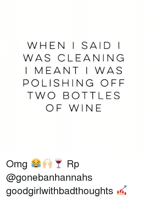 Memes, Omg, and Wine: WHEN I SAID I  WAS CLEANING  I MEANT I WAS  POLISHING OFF  TWO BOTTLES  OF WINE Omg 😂🙌🏼🍷 Rp @gonebanhannahs goodgirlwithbadthoughts 💅🏼