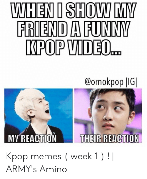 Funny, Memes, and Video: WHEN I SHOW MY  FRIEND A FUNNY  KPOP VIDEO..  @omokpop |IG  MY REACTION  THEIR REACTION Kpop memes ( week 1 ) ! | ARMY's Amino
