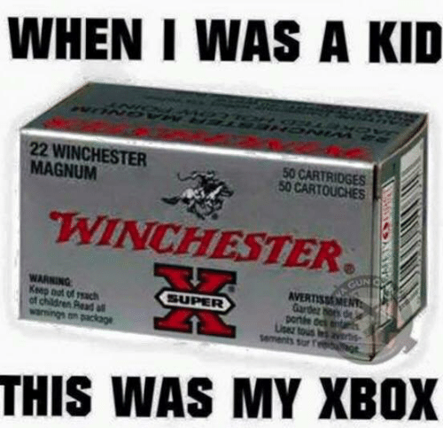 Sar: WHEN I WAS A KID  22 WINCHESTER  MAGNUM  50 CARTRIDGES  50 CARTOUCHES  WINCHESTER  WARNING  Ksep oot of reach  of children Read  Gardez hors de  portte dek entar  sar f  THIS WAS MY XBOX